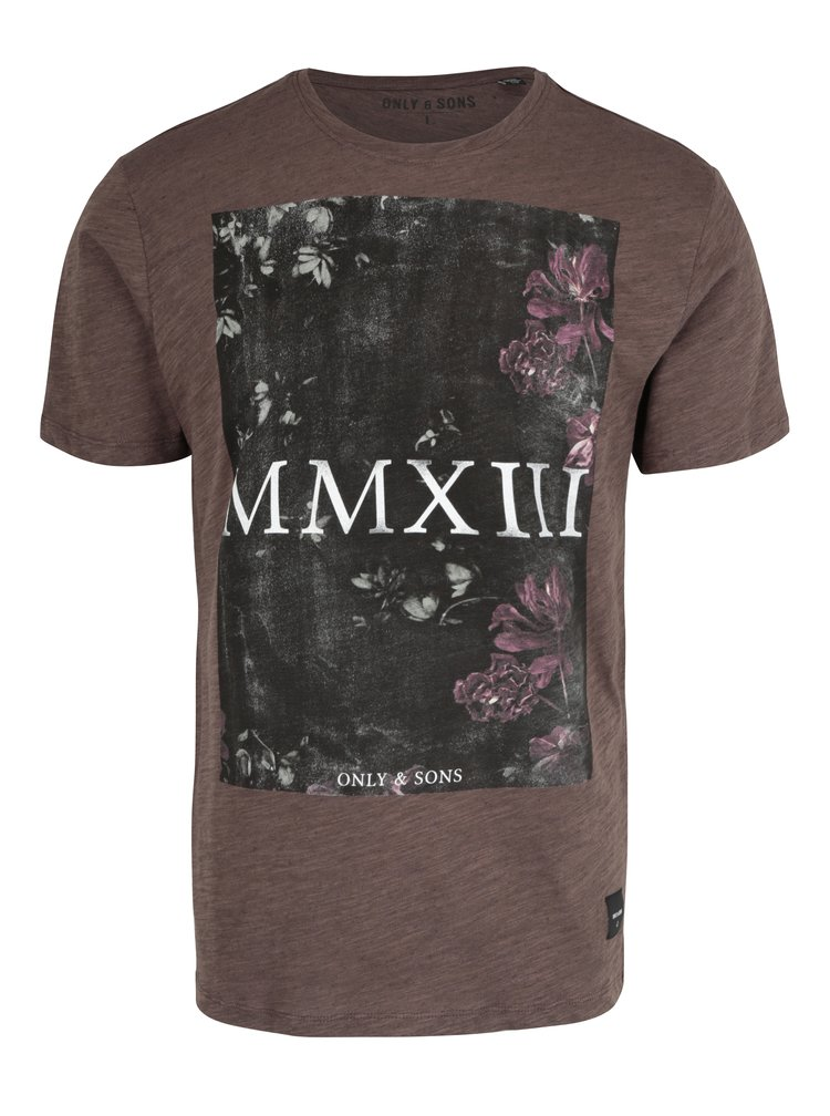 Hnědé žíhané tričko s potiskem ONLY & SONS Max