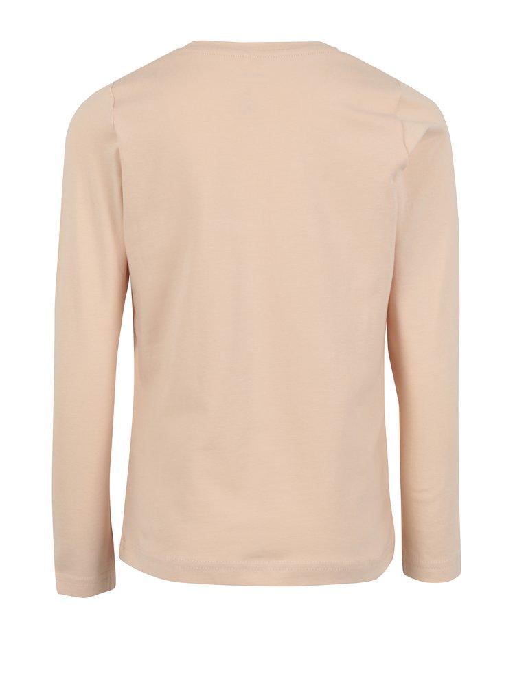 Starorůžové holčičí tričko s potiskem Name it Jamin