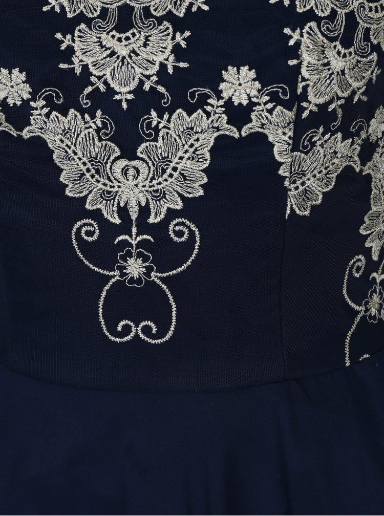 Rochie albastra cu broderie decorativa Chi Chi London Riri