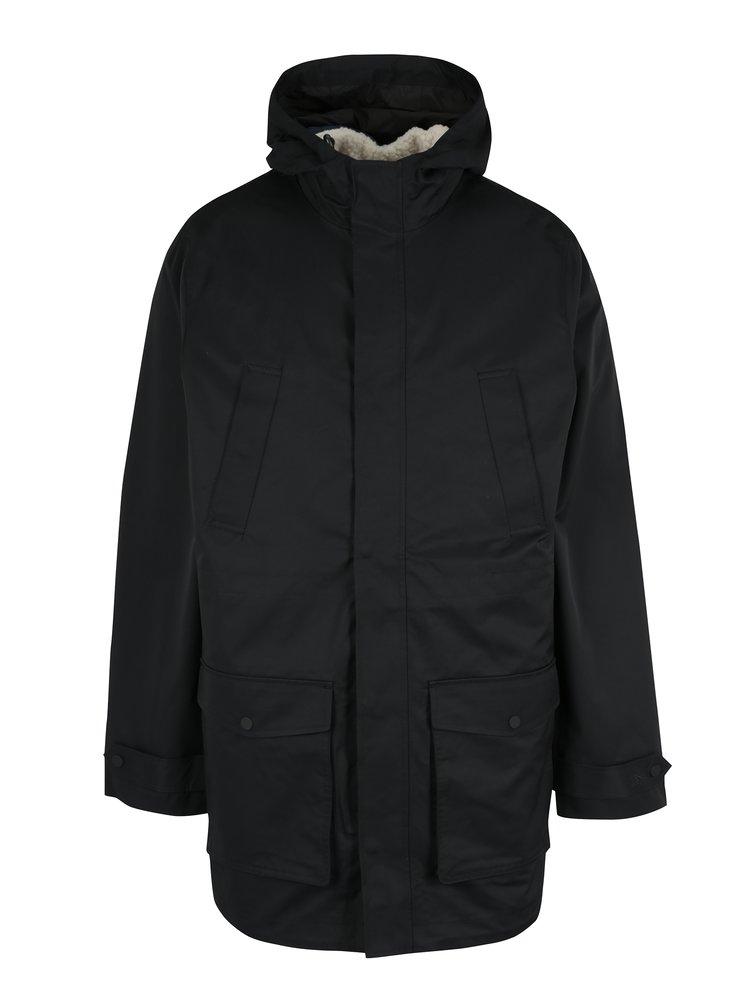 Černá voděodolná parka s vestou s umělým kožíškem 2v1 Original Penguin