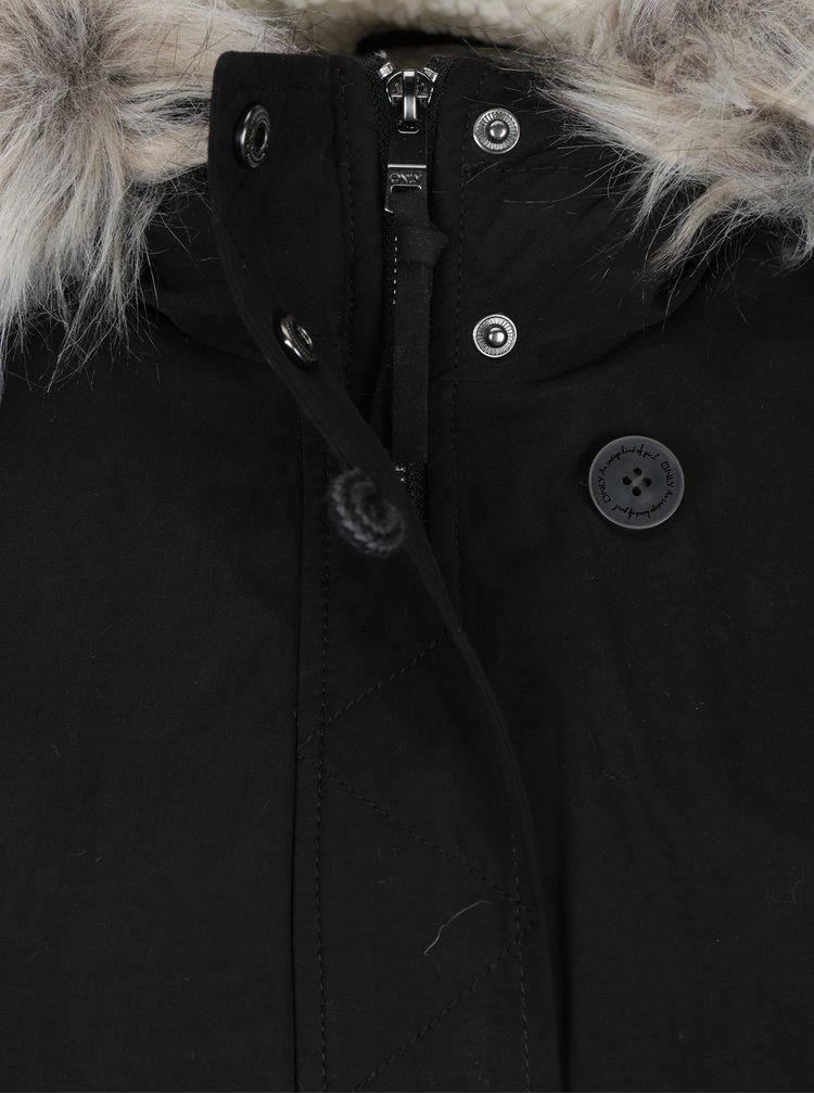 Černá zimní parka s umělou kožešinou ONLY Peyton