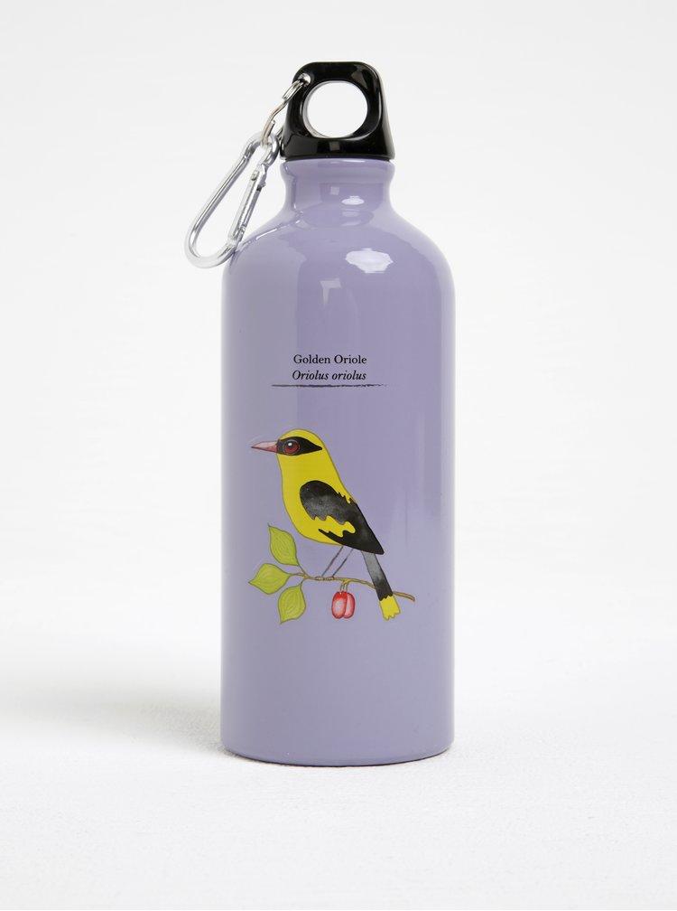 Fialová láhev na vodu s motivem ptáčka Gift Republic