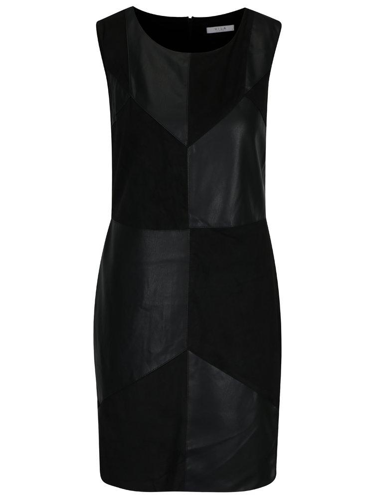 Černé šaty s koženkovými detaily VILA Sonia