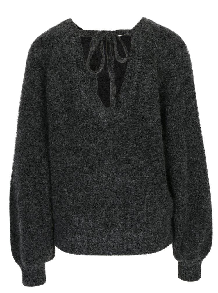 Pulover gri cu amestec de lana&mohair Selected Femme Kaila