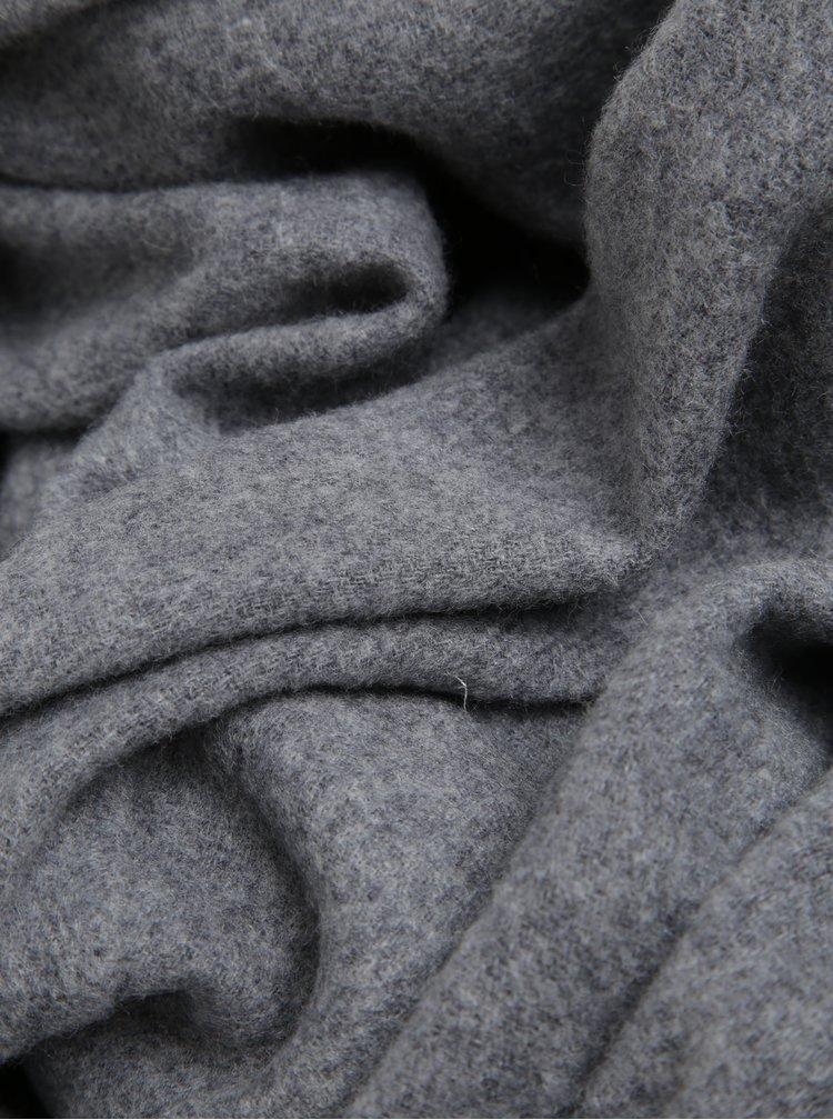 Sivý melírovaný šál s prímesou vlny Pieces Jira
