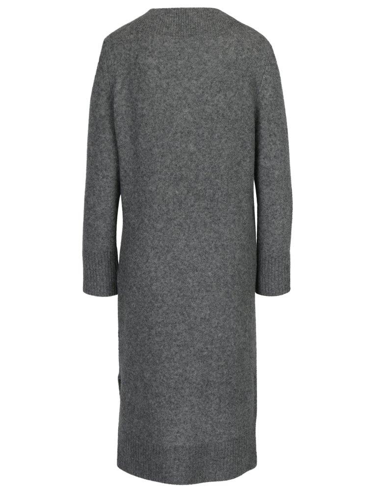 Šedé vlněné svetrové šaty s příměsí jačí vlny Selected Femme Jamia