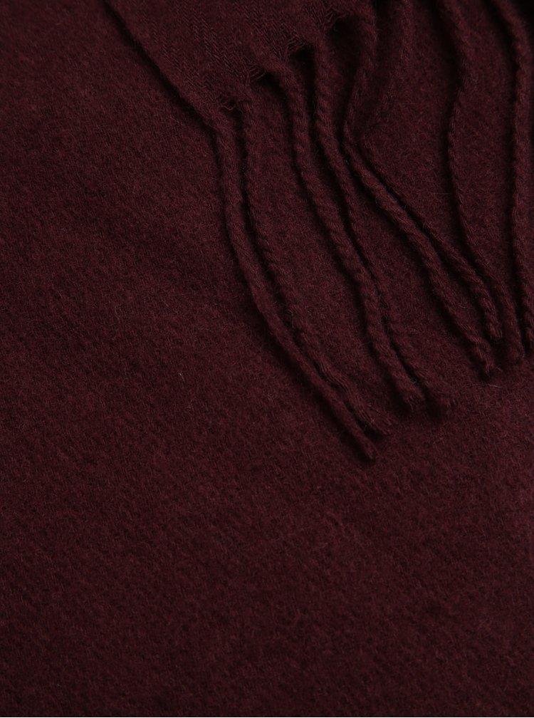 Esarfa bordo din amestec de lana Pieces Jira