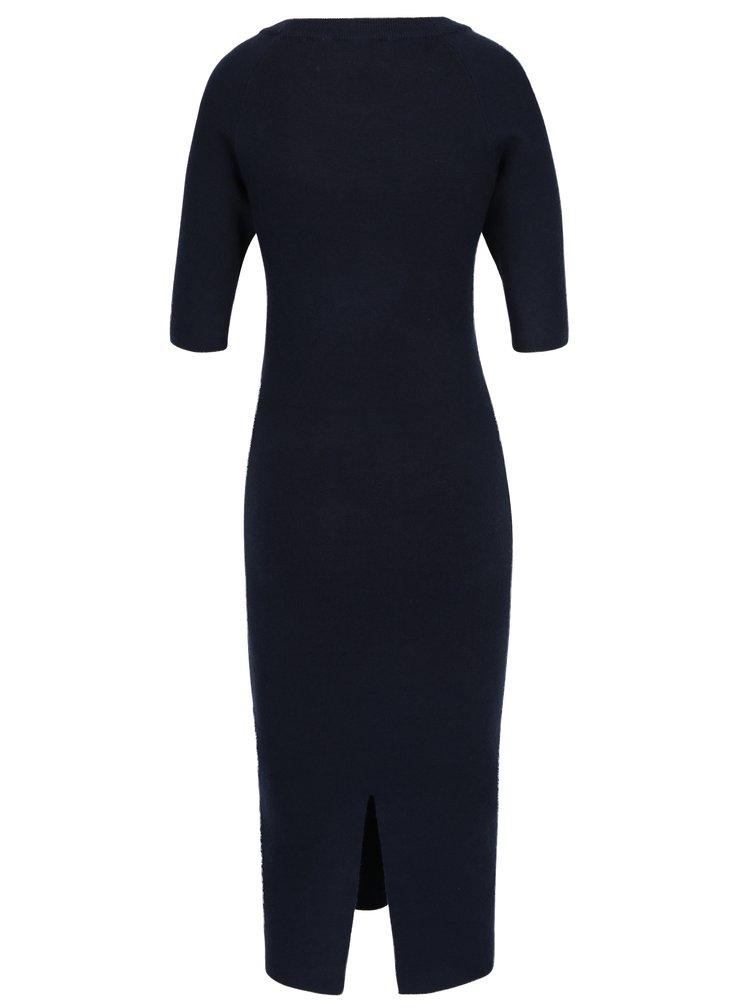 Tmavě modré svetrové midišaty Selected Femme Inneta