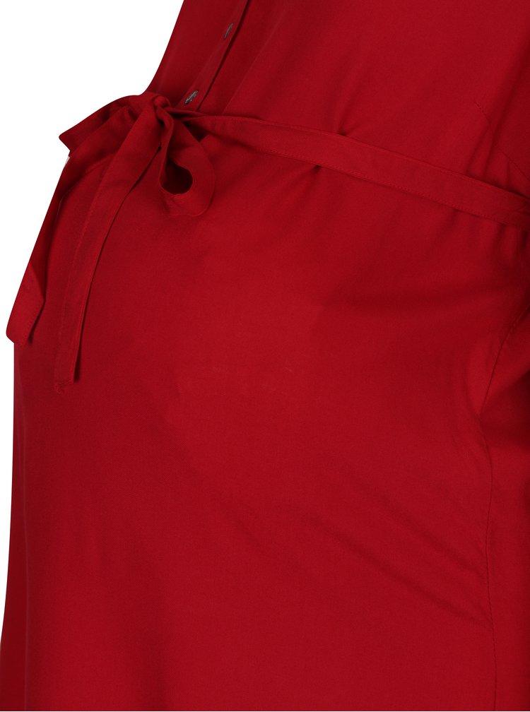 Rochie cămașă roșie cu mâneci 3/4 Mama.licious Mercy