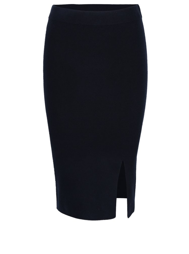 Tmavě modrá pouzdrová sukně s rozparkem Selected Femme Inneta