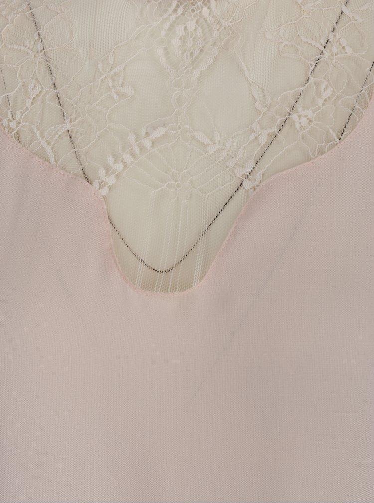 Světle růžová halenka s krajkovým dekoltem VILA Agnia