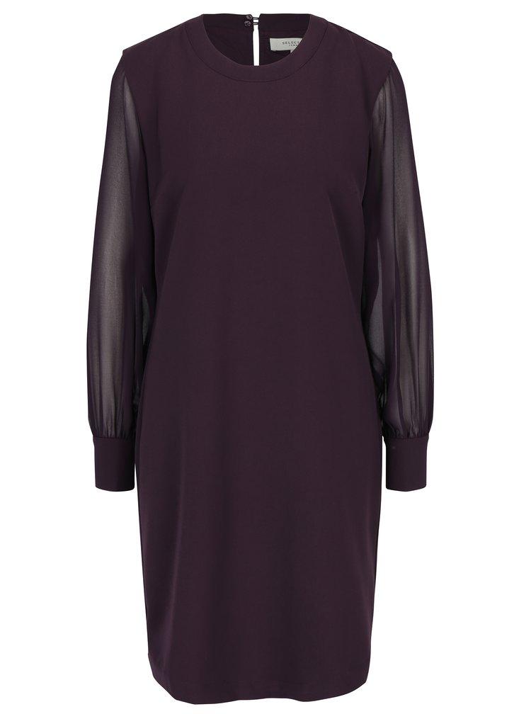 Fialové šaty s průsvitnými rukávy Selected Femme Mayi