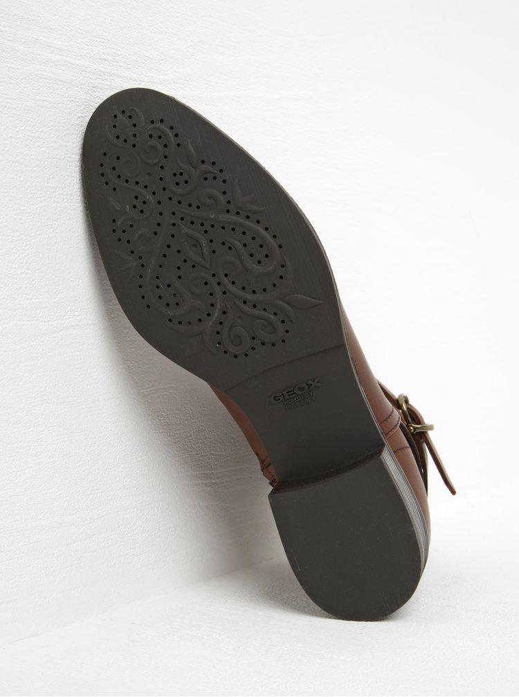 Hnědé kožené voděodpudivé kotníkové boty Geox Meldi P ABX