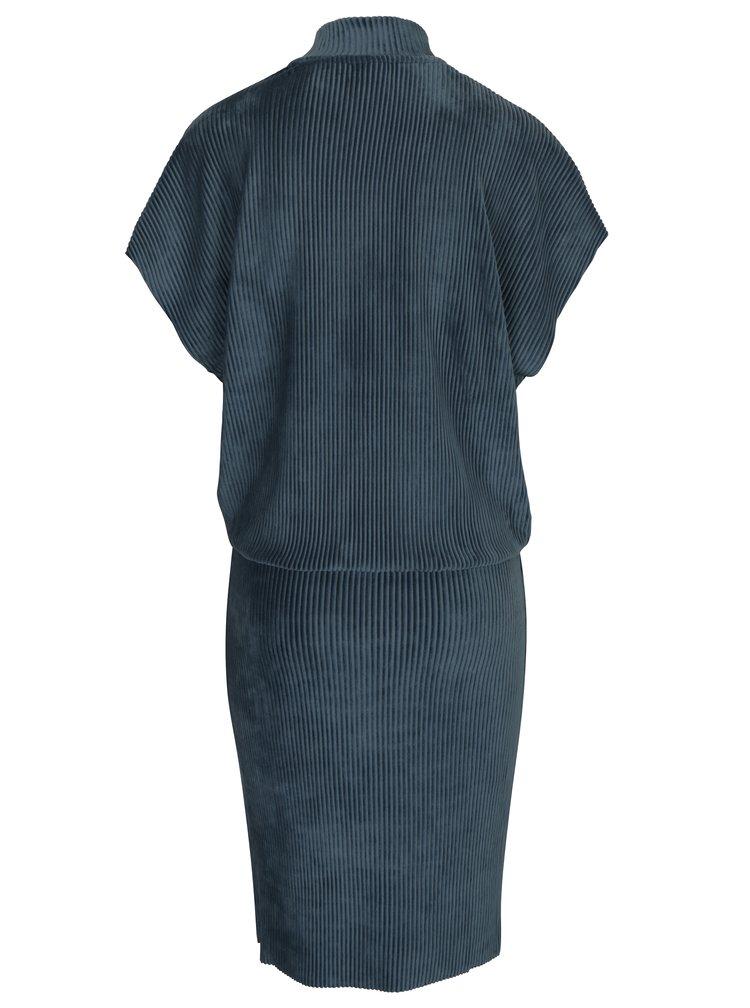 Rochie albastra din catifea cu maneci raglan Selected Femme Velva