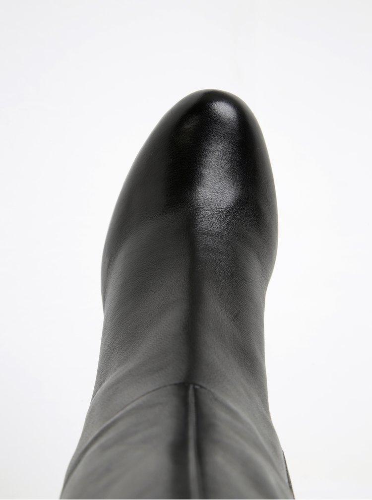 Černé dámské kožené kozačky na podpatku Geox Inspirat C