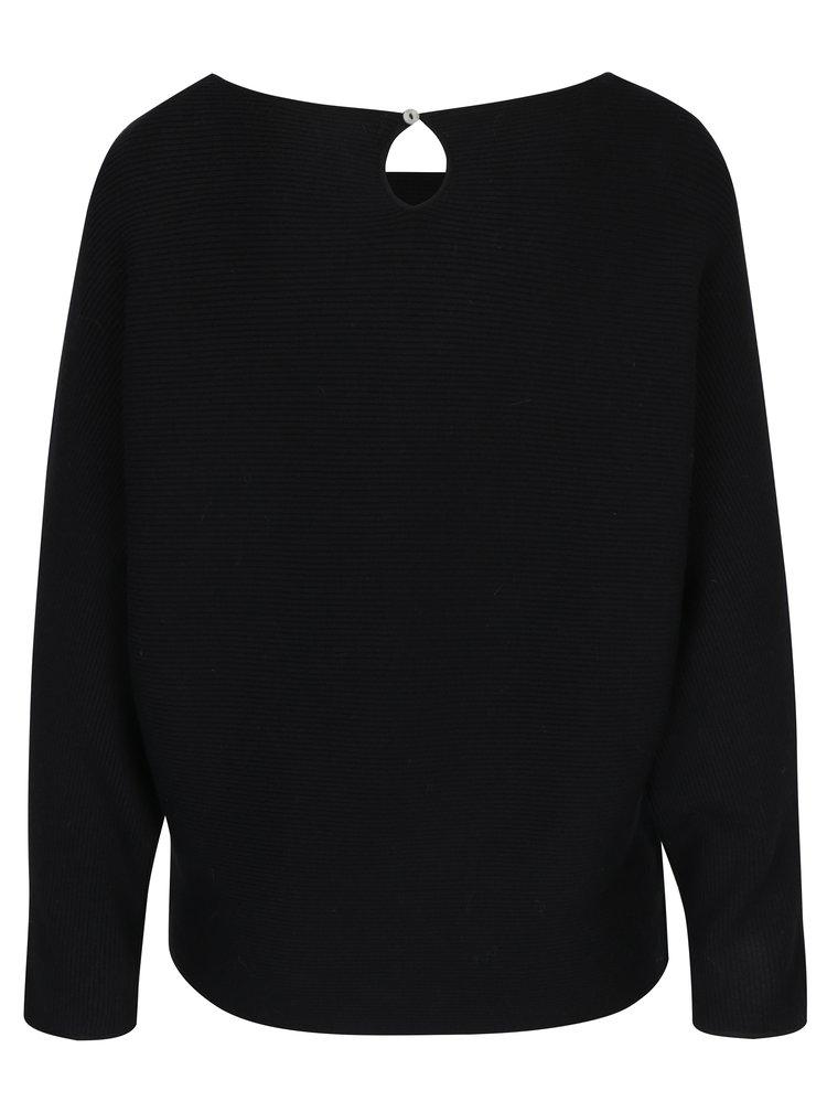 Pulover asimetric negru cu dungi în relief ONLY Vita
