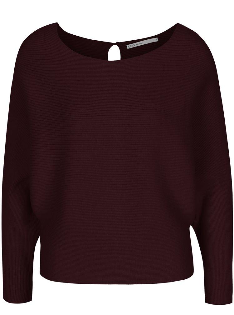 Vínový žebrovaný svetr s netopýřími rukávy ONLY Vita