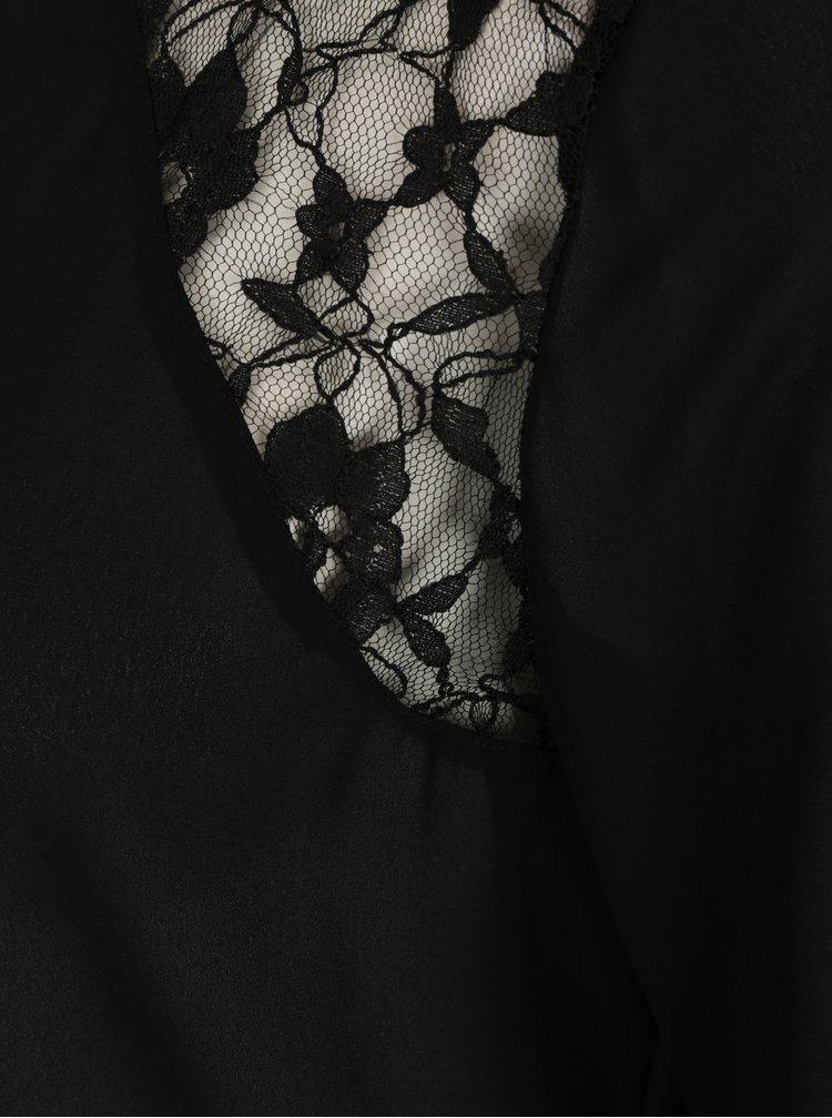 Černá halenka s krajkou a balónovými rukávy ONLY Kicka