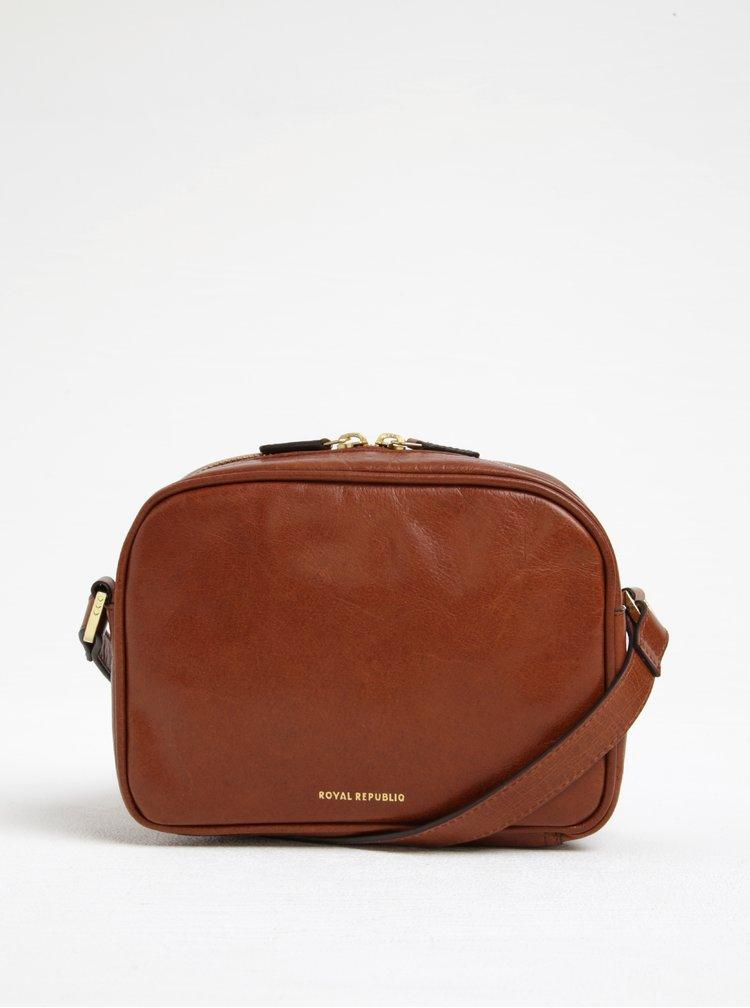 Hnědá kožená crossbody kabelka s detaily ve zlaté barvě Royal RepubliQ