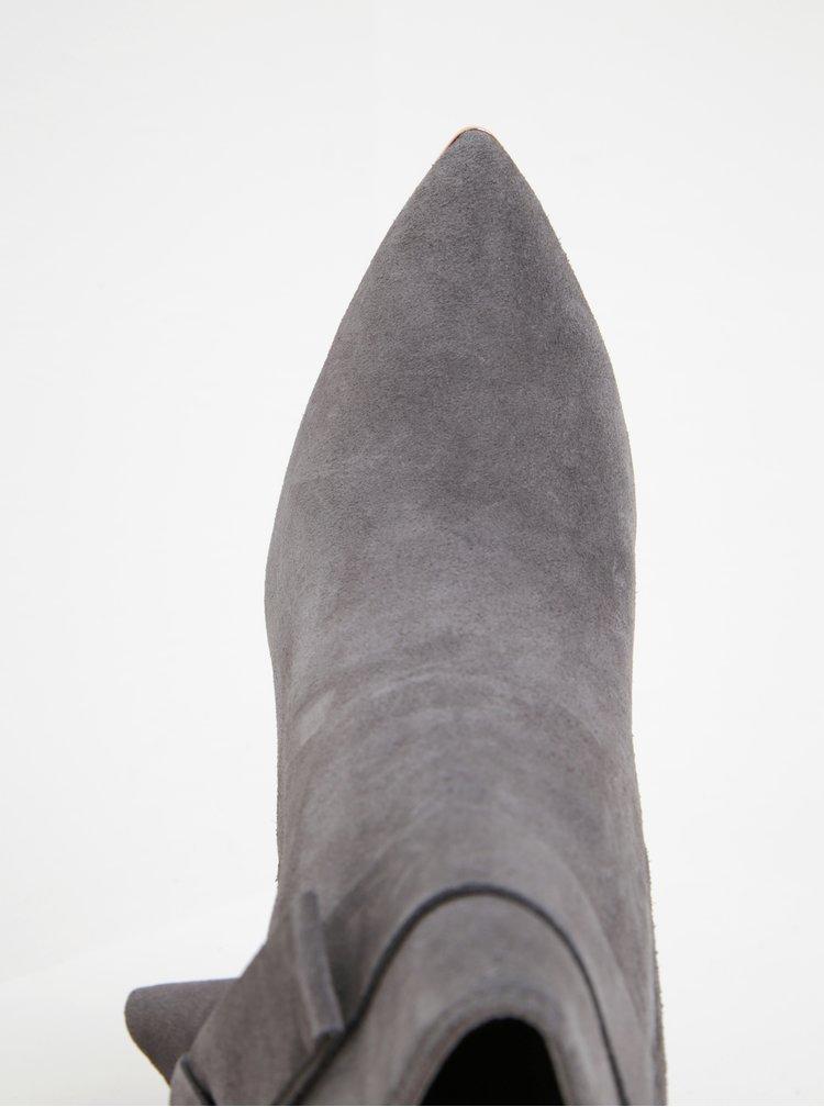 Botine gri din piele naturala cu funda decorativa si toc inalt - Ted Baker Sailly