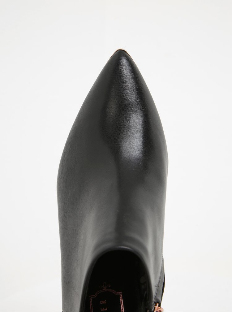 Botine negre din piele naturala cu toc si varf ascutit - Ted Baker Nyiri
