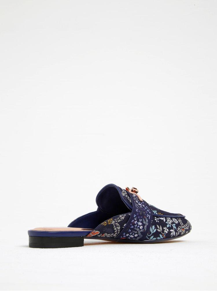 Papuci tip mules bleumarin cu flori brodate - Ted Baker Dorlinj