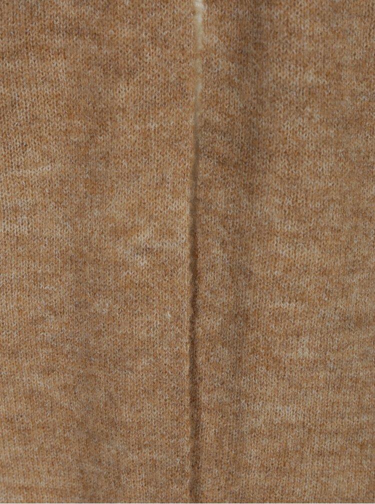 Světle hnědý dlouhý žíhaný kardigan s příměsí mohéru ONLY Meredith
