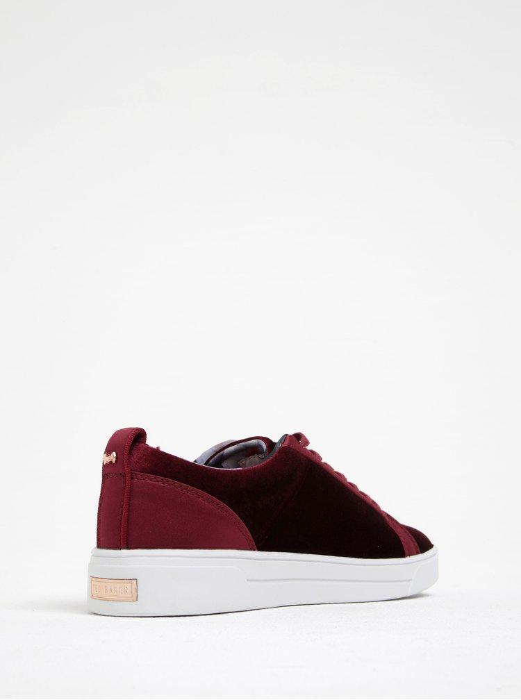 Pantofi sport rosu bordo din catifea - Ted Baker Kulei