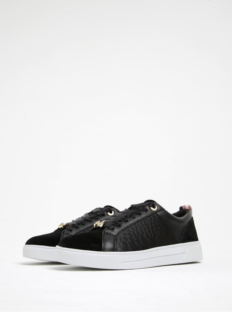 Pantofi sport negri cu model tip crocodil - Ted Baker Kulei