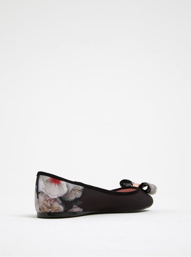 Černé květované baleríny s mašlí Ted Baker Immep