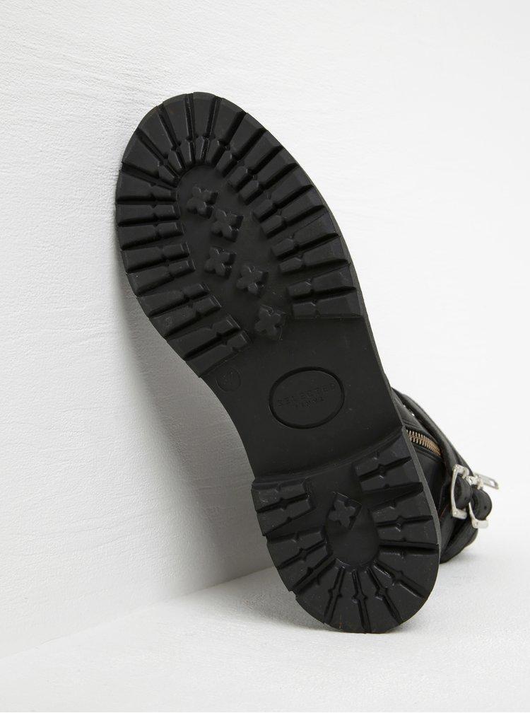 Černé kožené kotníkové boty s přezkami Selected Femme Kim