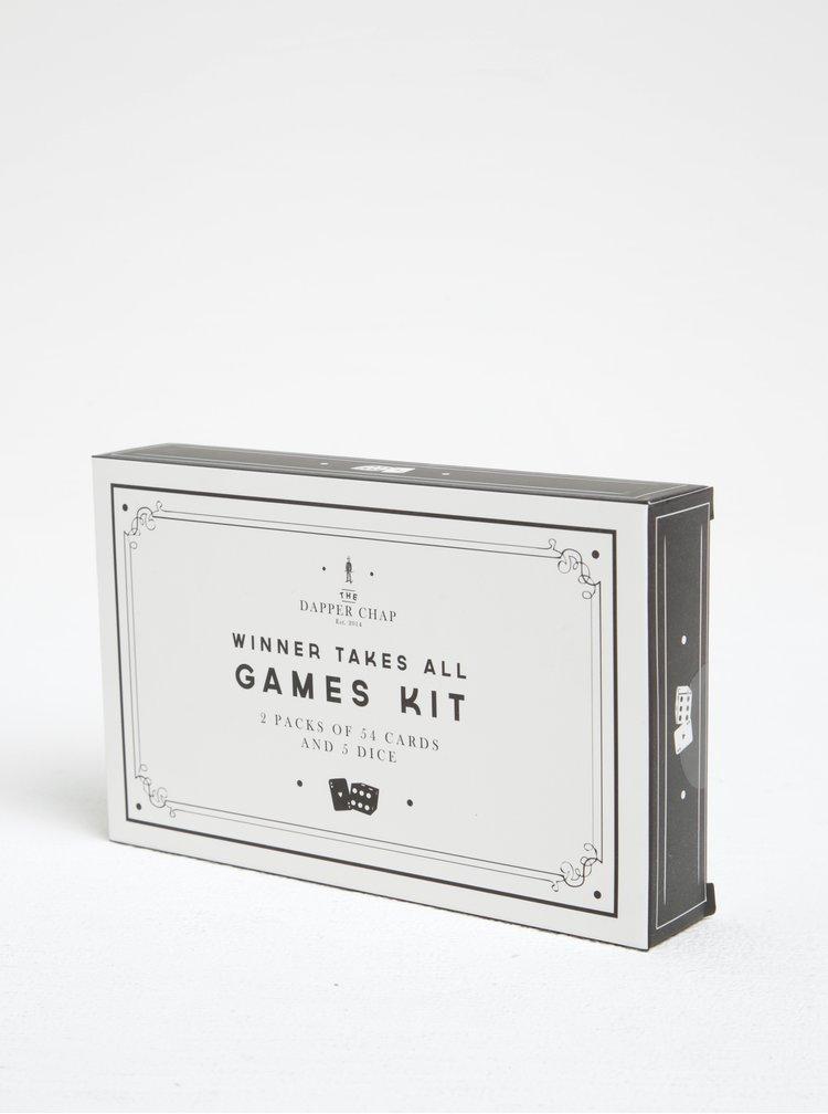 Cutie de lemn cu zaruri si cărți de joc CGB