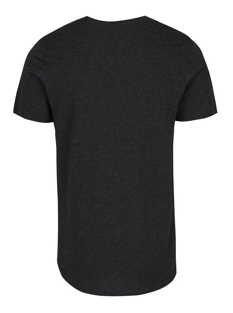Tricou basic gri închis melanj - Jack & Jones Mesut