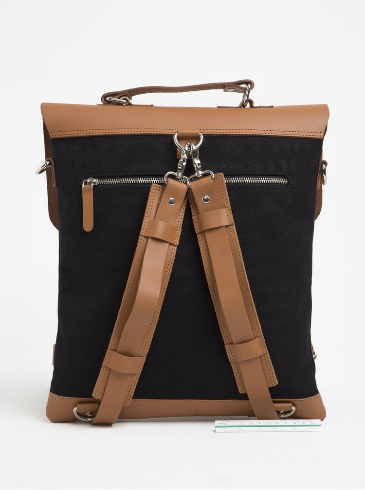 Hnědo-černý batoh/brašna s koženými detaily Enter Messenger Tote