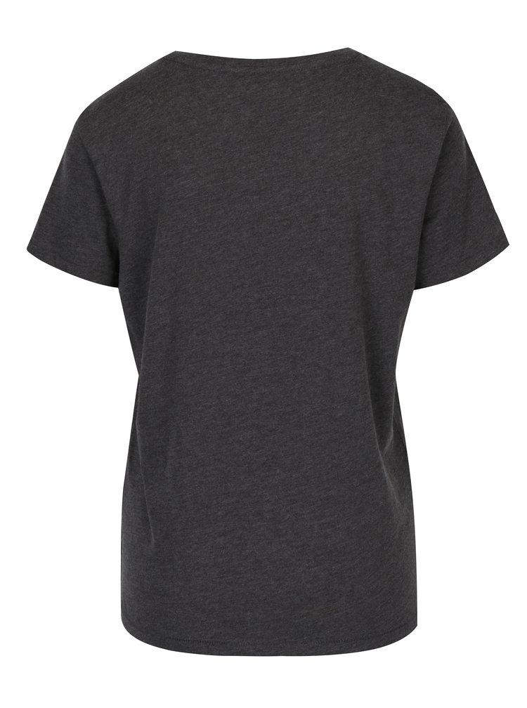 Tmavě šedé žíhané tričko s potiskem ONLY Sabina Always