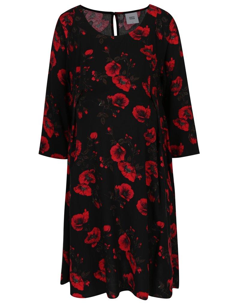 Černé květované těhotenské šaty Mama.licious Romance