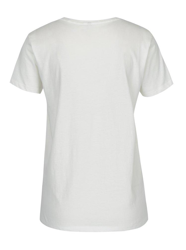 Tricou crem cu print din catifea ONLY Sabina Proud