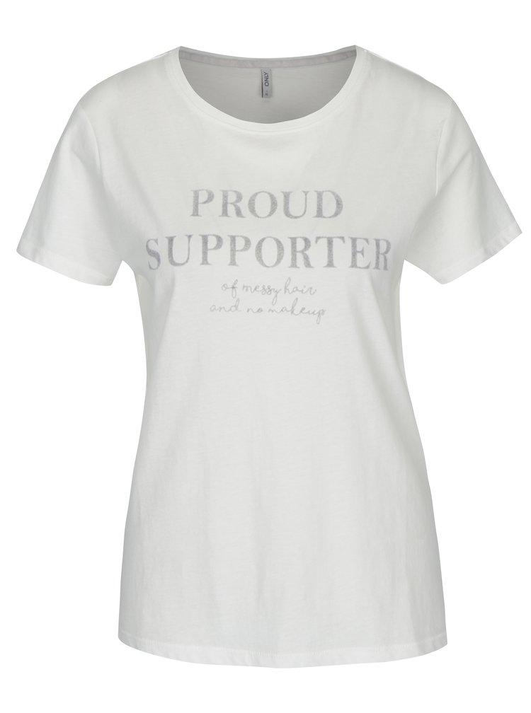 Krémové tričko s potiskem ONLY Sabina Proud