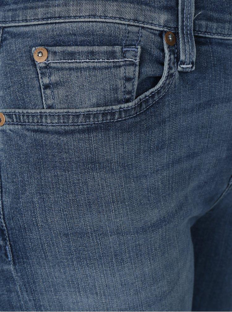 Modré skinny džíny s vyšisovaným efektem Selected Femme Elena