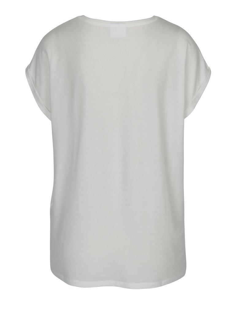 Krémové dámské basic tričko s krátkým rukávem VERO MODA AWARE Ava