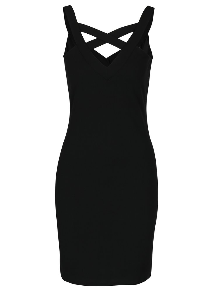 Černé šaty s překříženými pásky na zádech ONLY Martha