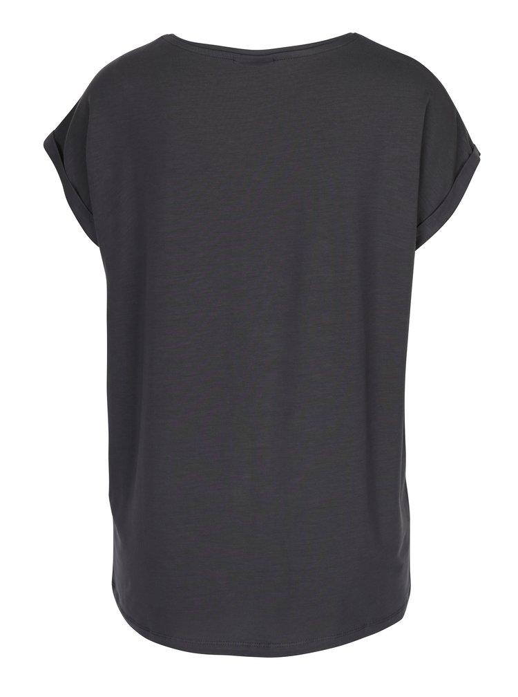 Šedé tričko s krátkým rukávem VERO MODA Ava