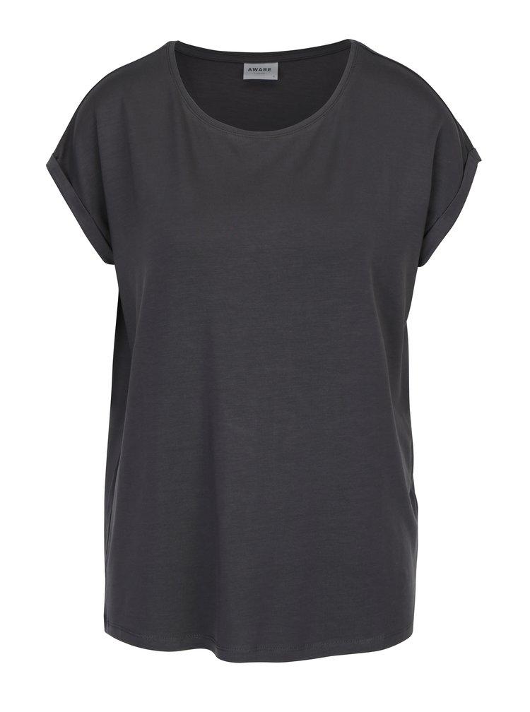 Šedé basic tričko s krátkým rukávem VERO MODA AWARE Ava