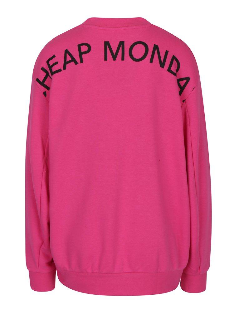 Růžová dámská volná mikina s potiskem na zádech Cheap Monday