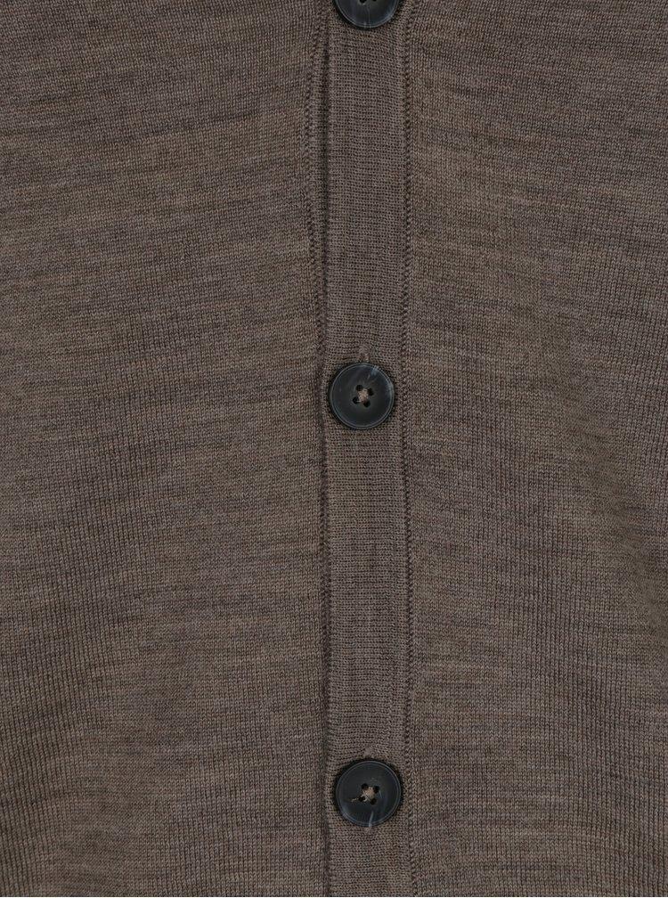 Světle hnědý lehký žíhaný kardigan z Merino vlny Jack & Jones Mark