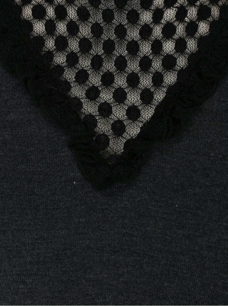 Bluză gri închis cu dantelă ONLY Dotti