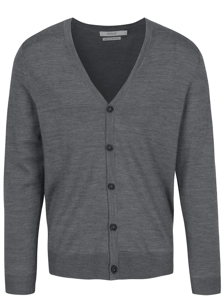 Cardigan gri melanj din lână merino - Jack & Jones Mark