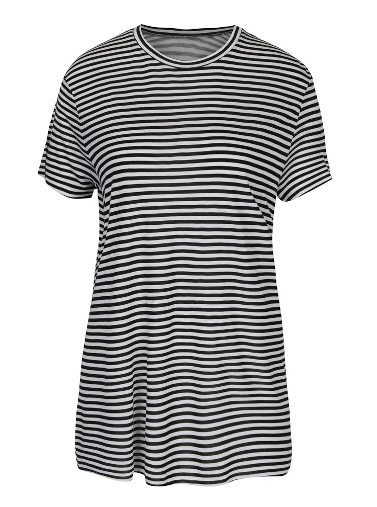 Tricou cu dungi alb & negru si decupaj adanc pe partea din spate - Cheap Monday