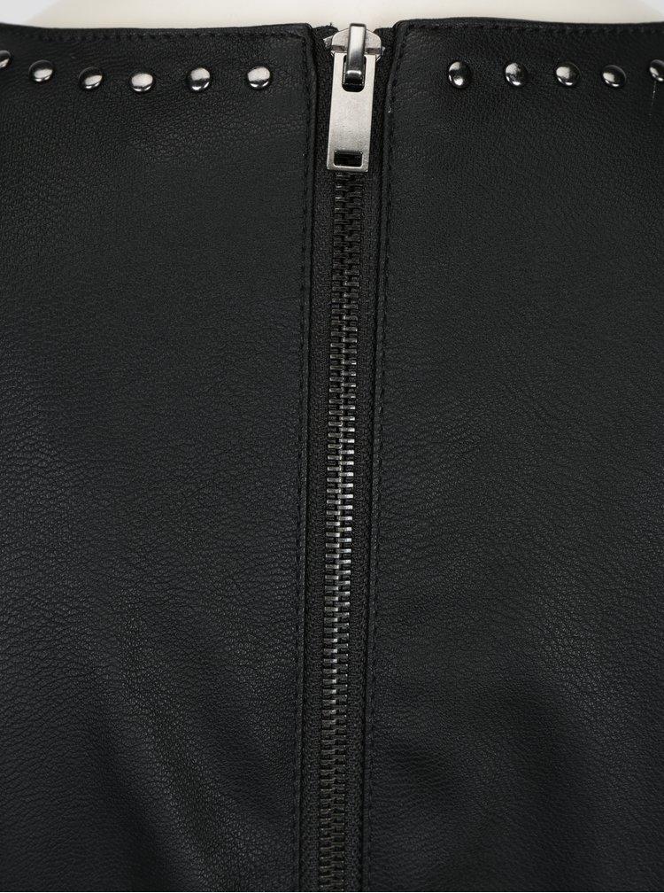 Černé koženkové šaty s aplikací kolem výstřihu ONLY Lee