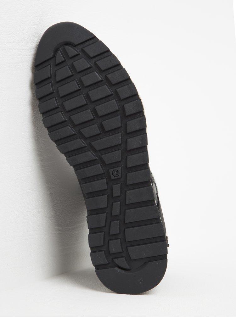 Tmavě šedé pánské kožené kotníkové boty s umělou kožešinou Bullboxer
